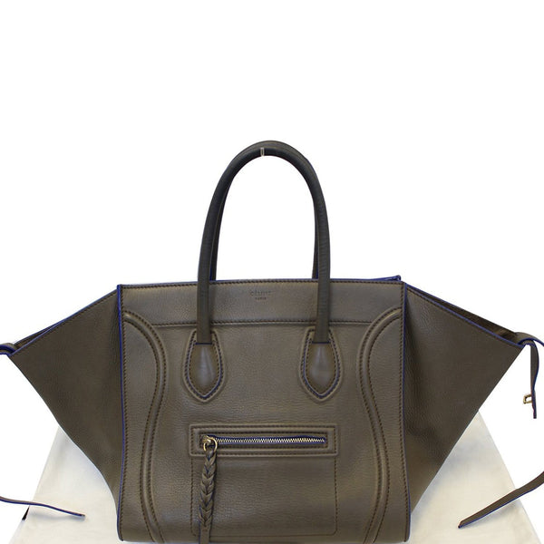 CELINE Phantom Luggage Olive Green Bicolor Grained Leather  Bag