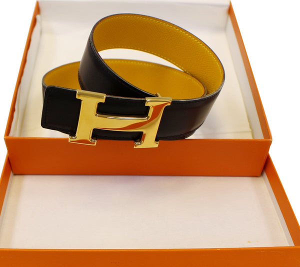 HERMES Belt Constance Buckle H Reversible Black/Yellow Size 65