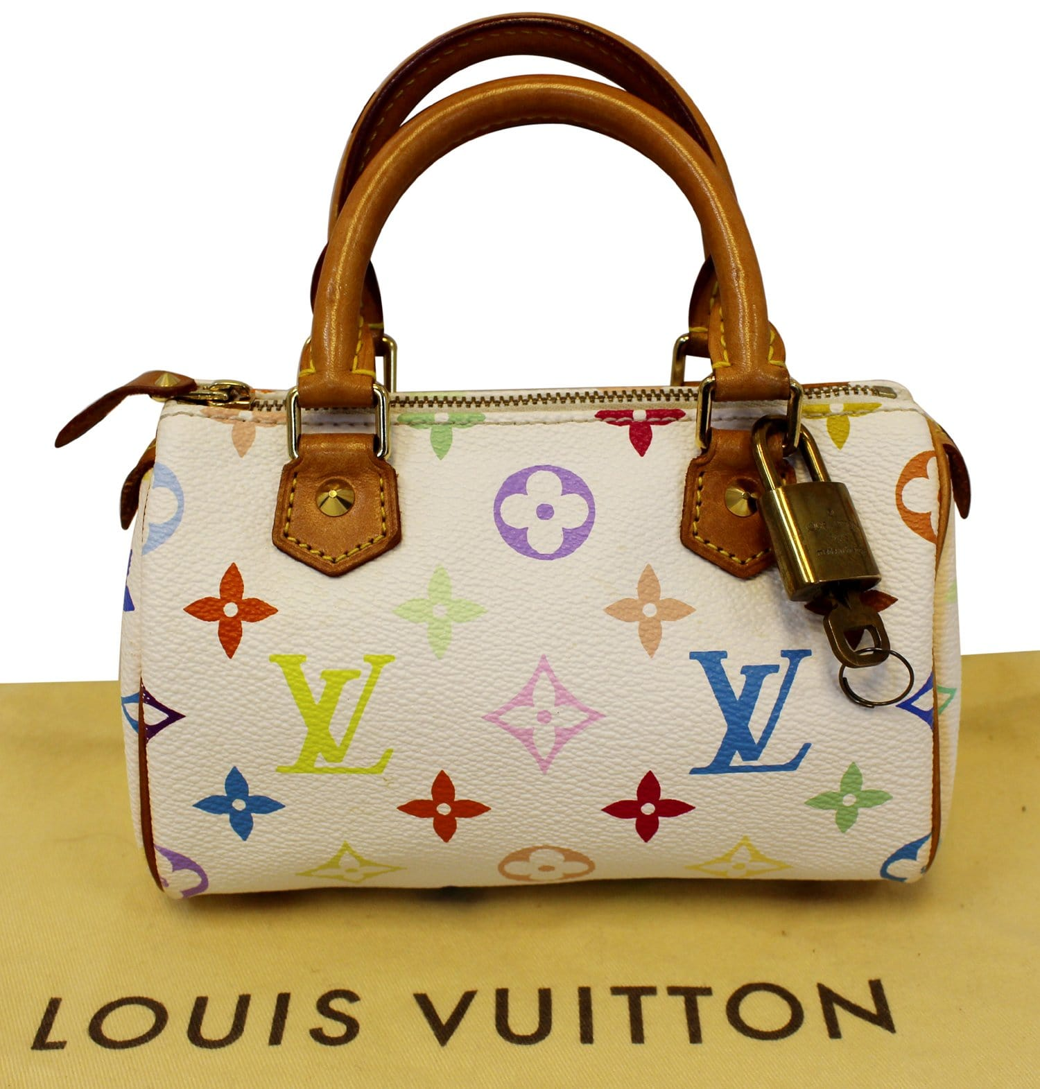 54e06d99ed8 LOUIS VUITTON Monogram Multicolor Mini Speedy White Satchel Bag
