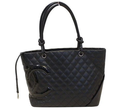 CHANEL Black Calf Skin Leather Large Cambon Tote Bag