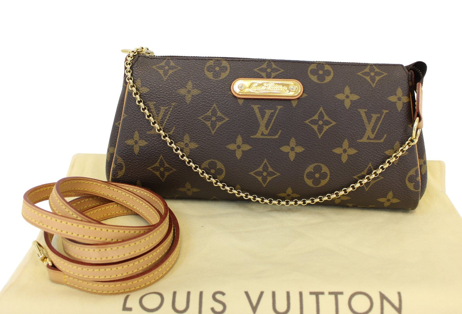 036ab6bc190a Authentic LOUIS VUITTON Monogram Canvas Eva Clutch Bag TT1579