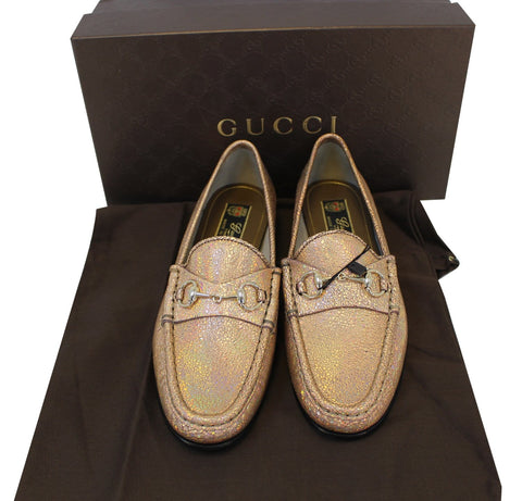 3ba324d1538  625 NIB Gucci 318394 Fawn Cracked Leather Loafer Horsebit Moccasins  37.5 US 7.5