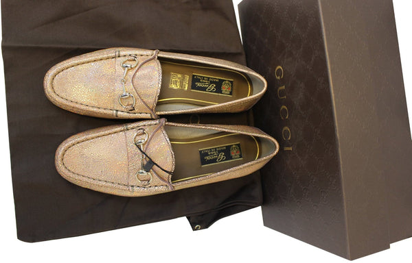Gucci Shoes Fawn Cracked Leather - Gucci Leather Loafer - front