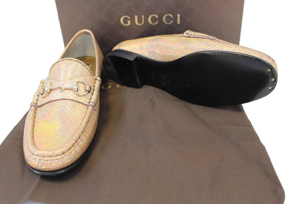 Gucci Fawn Cracked Leather Shoe - 100% authentic leather