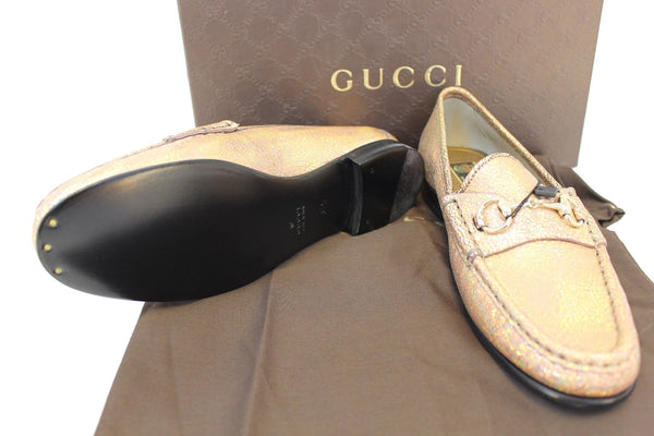 Gucci Fawn Cracked Leather Shoe - 100% authentic leather - top view
