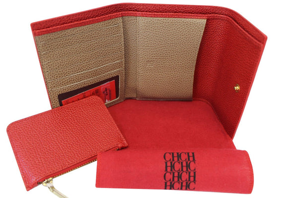 CAROLINA HERRERA Red Leather Tri Fold Wallet New