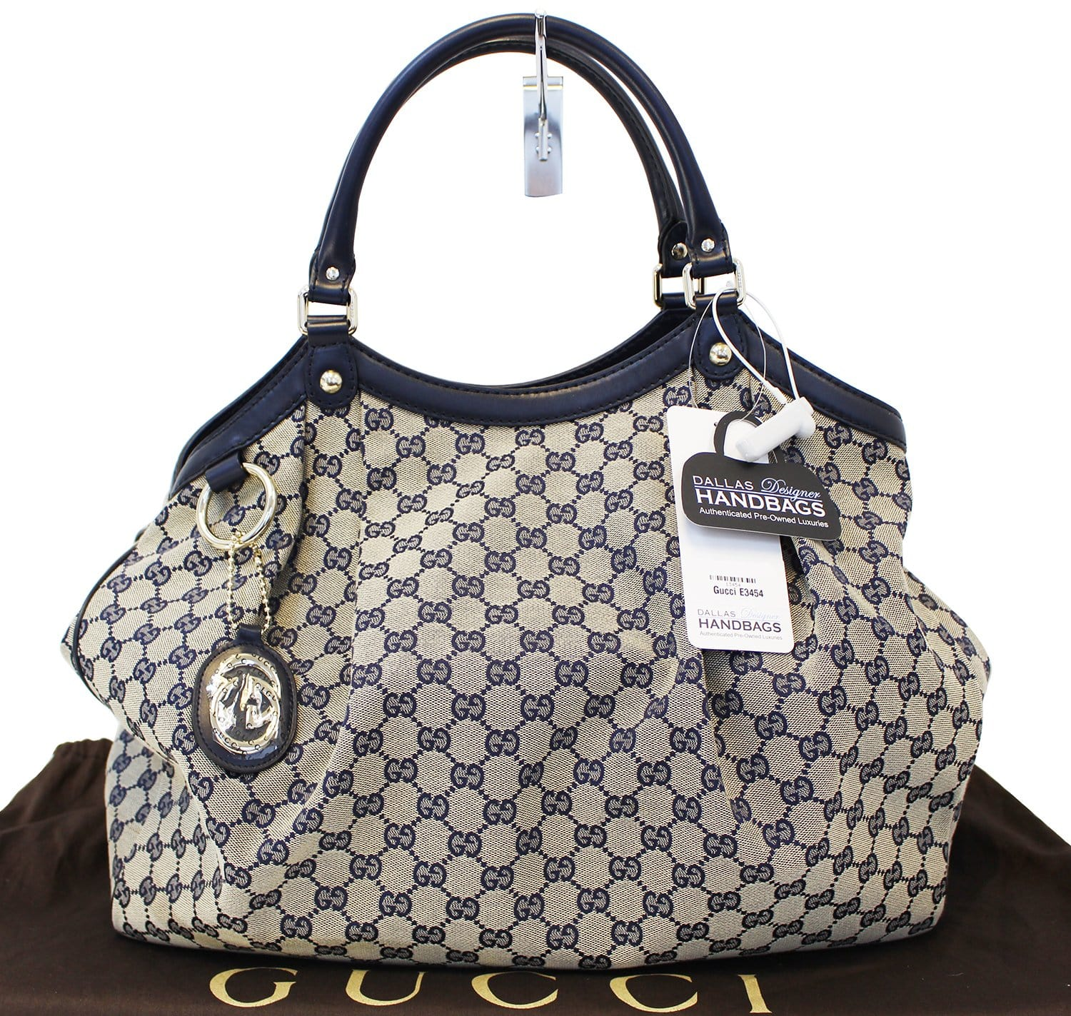 9d94965f2cc1 Authentic GUCCI Navy Blue/Grey GG Canvas Large Sukey Tote Bag E3454