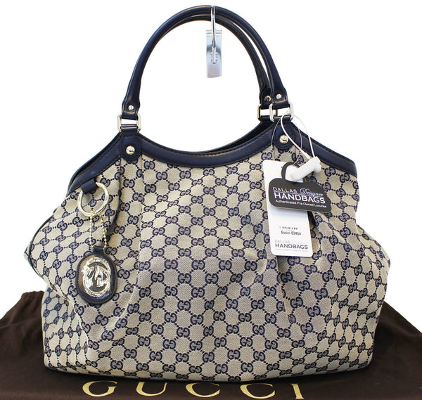 Gucci Sukey Tote Bag Navy GG Canvas Large
