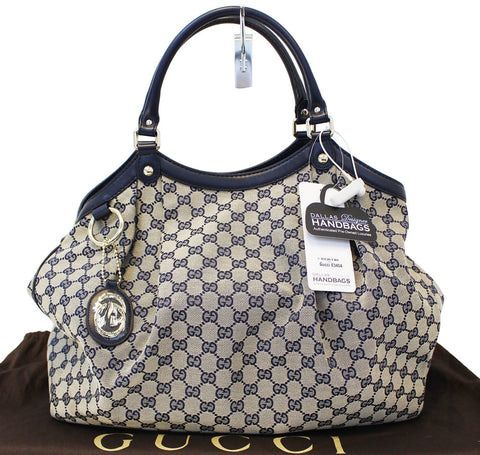 Authentic GUCCI Navy Blue/Grey GG Canvas Large Sukey Tote Bag E3454