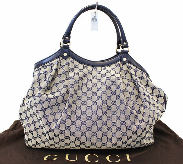 Gucci Sukey Tote Bag Navy GG Canvas Large - front view