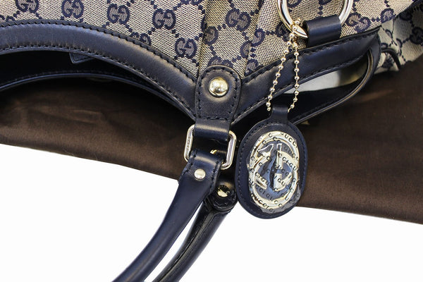 Gucci Sukey Tote Bag Navy GG Canvas Large - gg strap