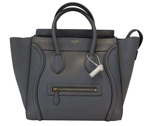 CELINE Grey Calfskin Leather Mini Luggage Tote Bag