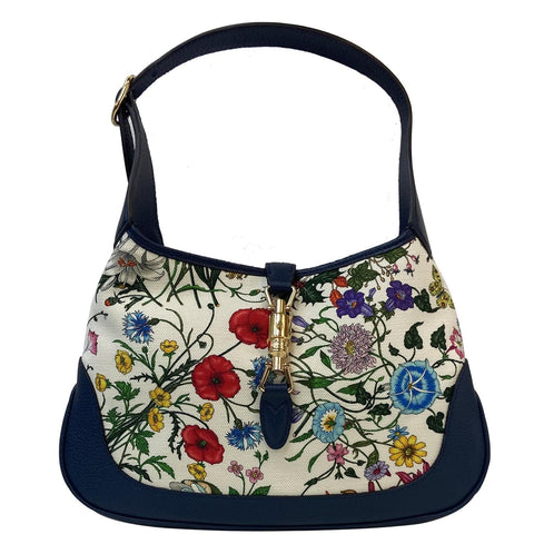 GUCCI Flora Jackie Medium Canvas Hobo Bag Blue 550152