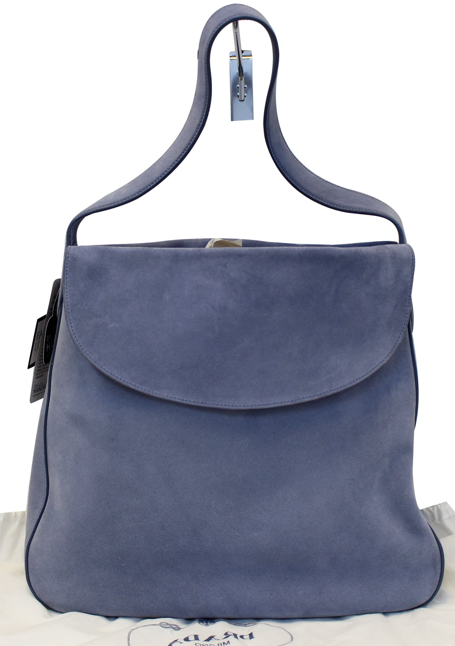 e7fb33af7c85 PRADA Vitello Daino Flap Suede Leather Hobo Bag Sky Blue