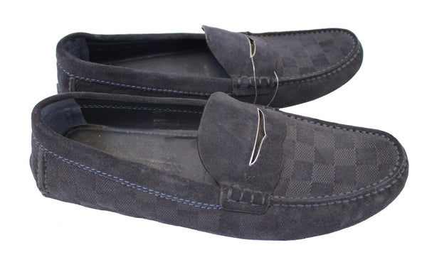 Authentic LOUIS VUITTON Damier Graphite Moccasin Loafers Size 8 E3475