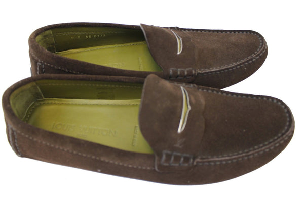 Authentic LOUIS VUITTON Dark Brown Suede leather Moccasin Loafers Size 8 E3476