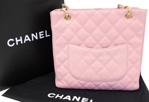 CHANEL PST Petit Shopping Caviar Leather Tote Bag Pink