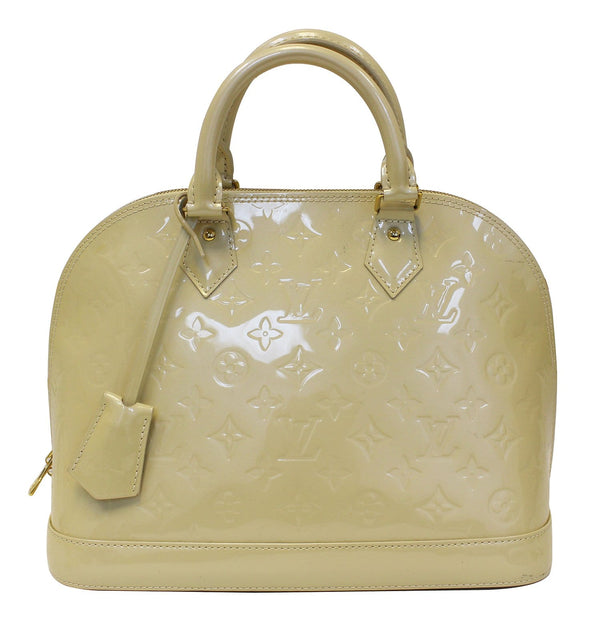 LOUIS VUITTON Pearl White Vernis Leather Alma Satchel Bag - Final Call