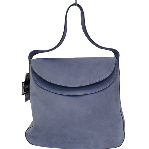 PRADA Vitello Daino Flap Suede Leather Hobo Bag Sky Blue