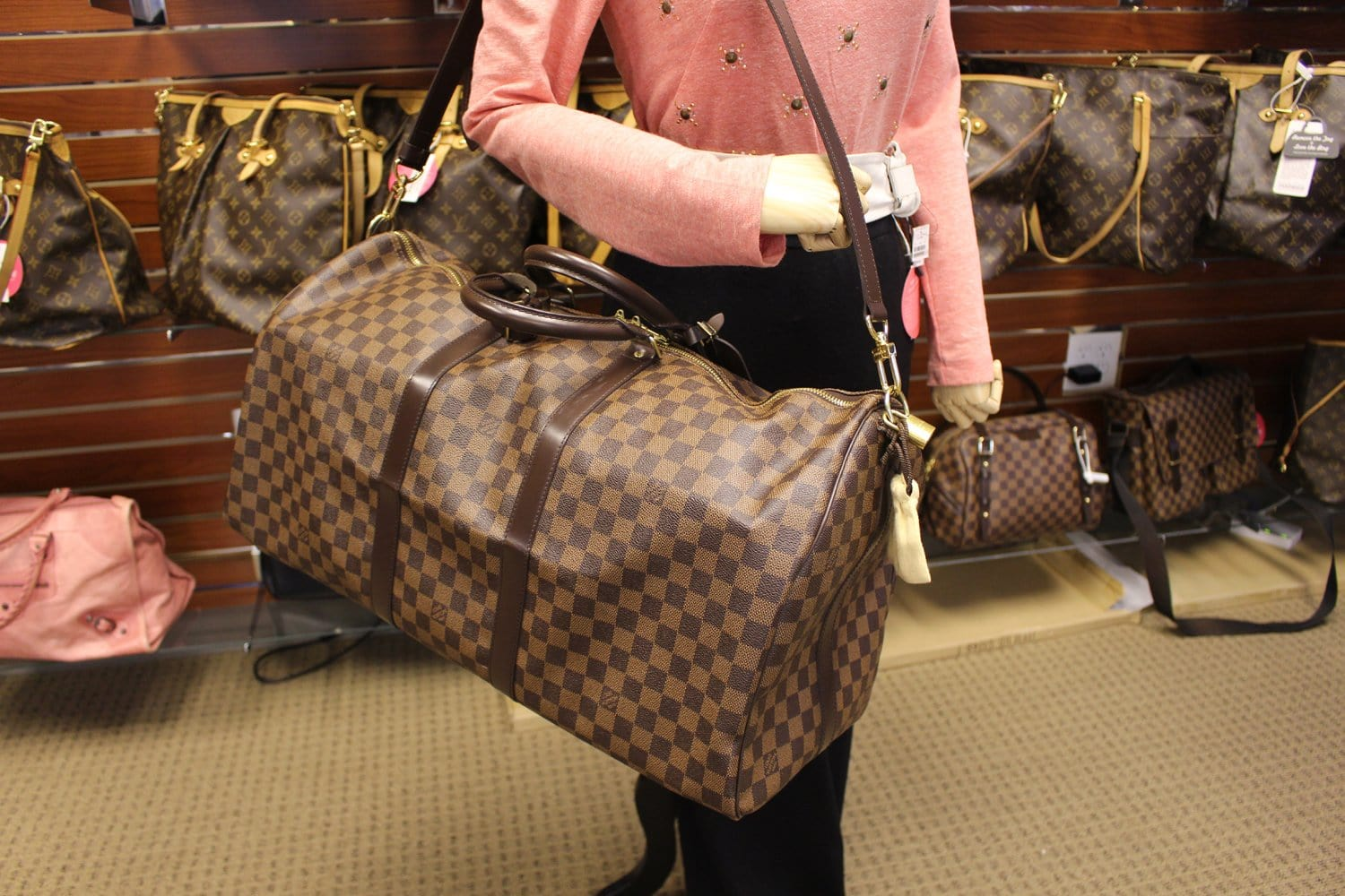 580006766284 LOUIS VUITTON Damier Ebene Keepall Bandouliere 55 Bag
