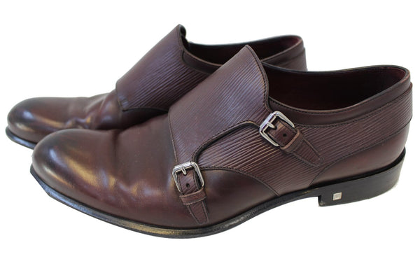 LOUIS VUITTON Greenwich Buckles Epi Burgundy Size 8.5 M Men's Shoes