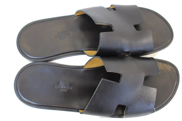 HERMES Izmir Black Men's Sandals Size 44
