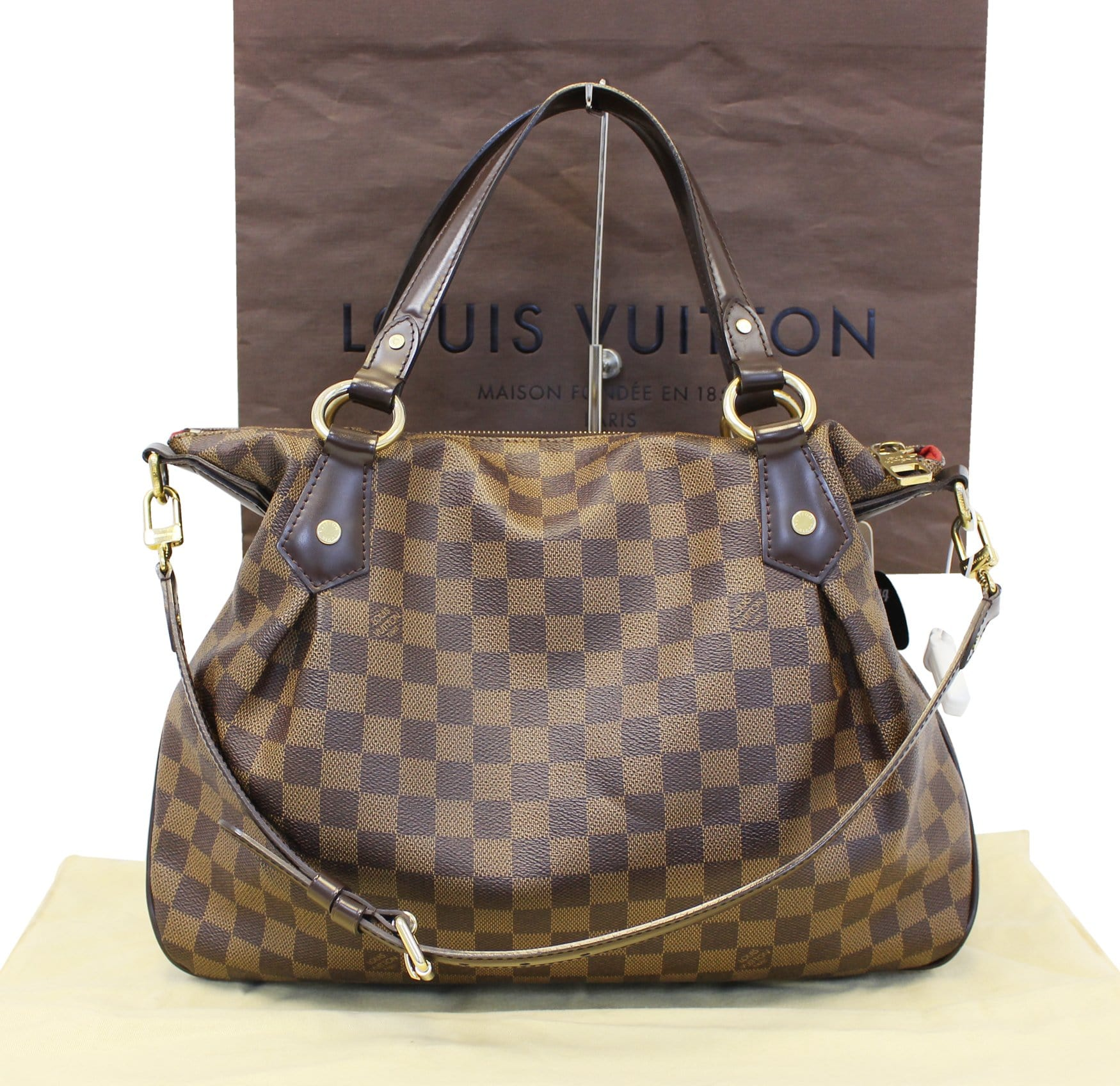 898577642052 Louis Vuitton Evora MM Damier Ebene Tote Shoulder Bag