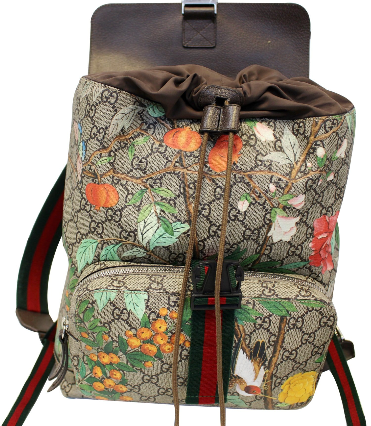 26fb22f7c36 GUCCI Beige Orange GG Coated Canvas GG Blooms Backpack E4178