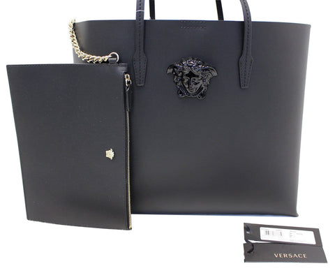 4541dcc41d9d Versace Black Leather Medusa Tote Shoulder Bag