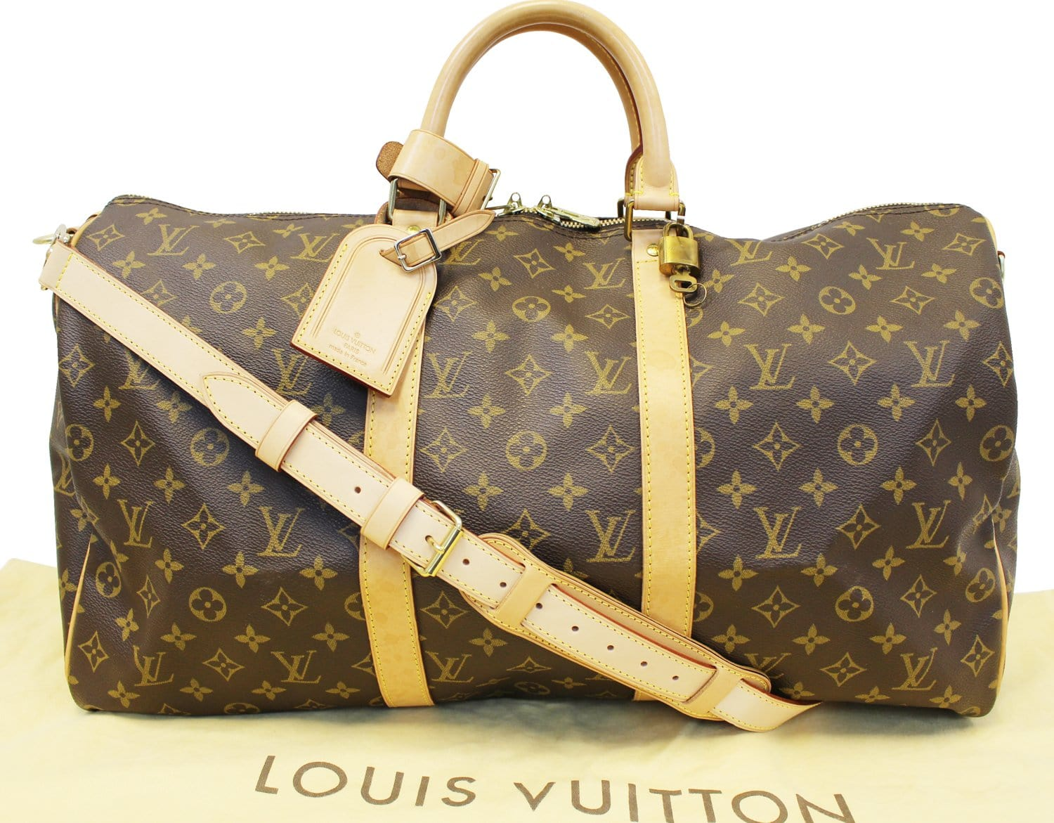f746bc3d868a LOUIS VUITTON Monogram Canvas Keepall 50 Bandouliere Travel Bag
