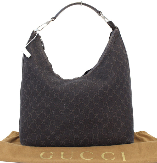GUCCI Denim Monogram Hobo Dark Brown Satchel Bag