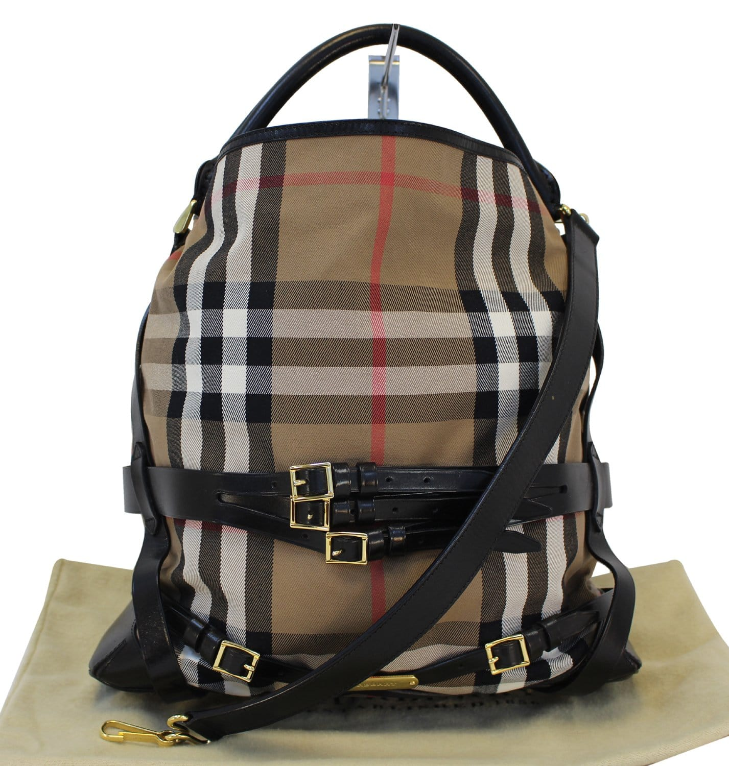 32b89219bb BURBERRY Bag - BURBERRY Nova Check Black Canvas Bridle Hobo Bag