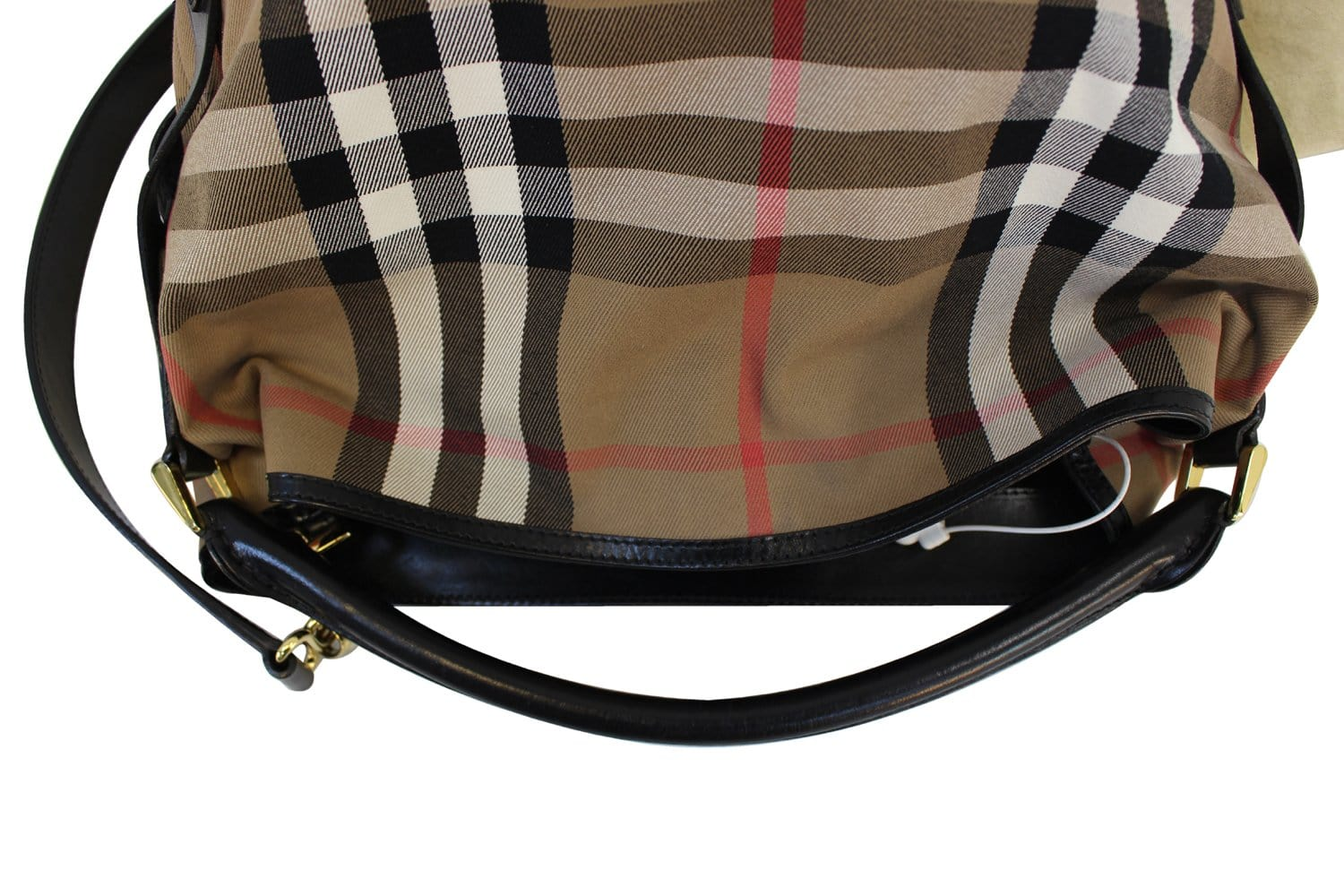 145213233cb2 Authentic BURBERRY Black Nova Check Canvas Medium Bridle Hobo Bag TT1635