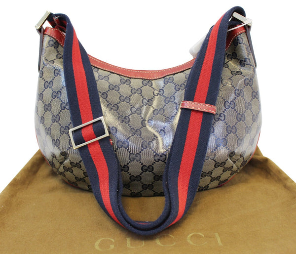 Gucci GG Canvas Messenger Bag Red Navy Blue - gucci strap
