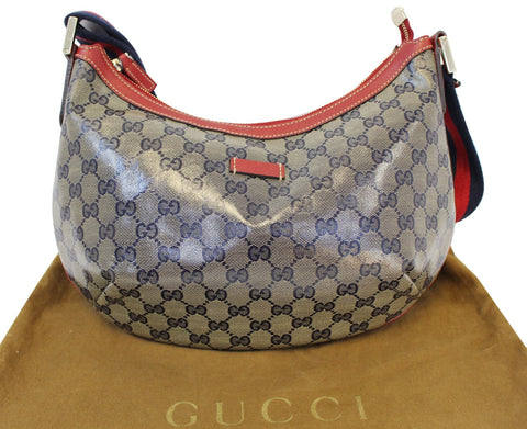 Authentic GUCCI 181092 GG Canvas Red Navy Blue Messenger Bag TT1634