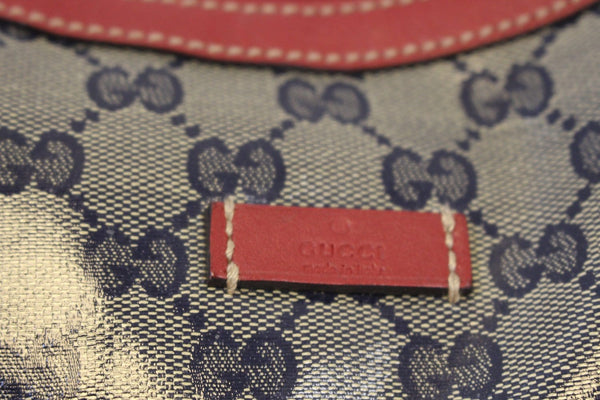 Gucci GG Canvas Messenger Bag Red Navy Blue leather