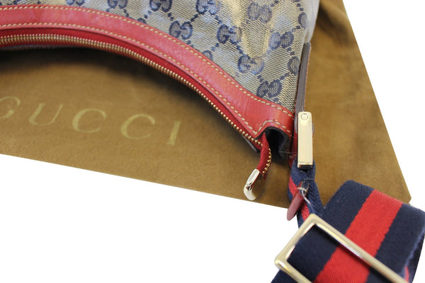 Gucci GG Canvas Messenger Bag Red Navy Blue - strap