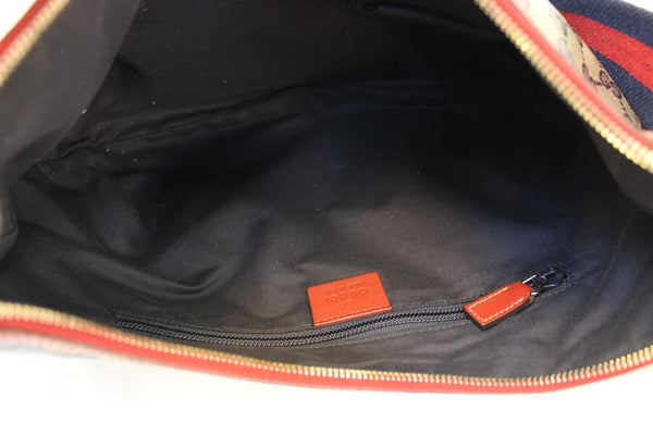 Gucci GG Canvas Messenger Bag Red Navy Blue -inside view