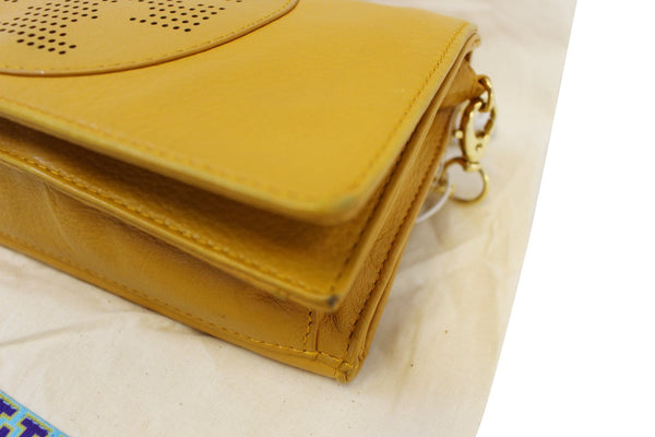 TORY BURCH Yellow Long Chain Leather Crossbody Bag
