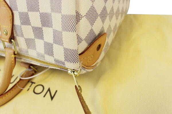 Authentic LOUIS VUITTON Speedy 35 Damier Azur Canvas  Satchel Bag TT1638