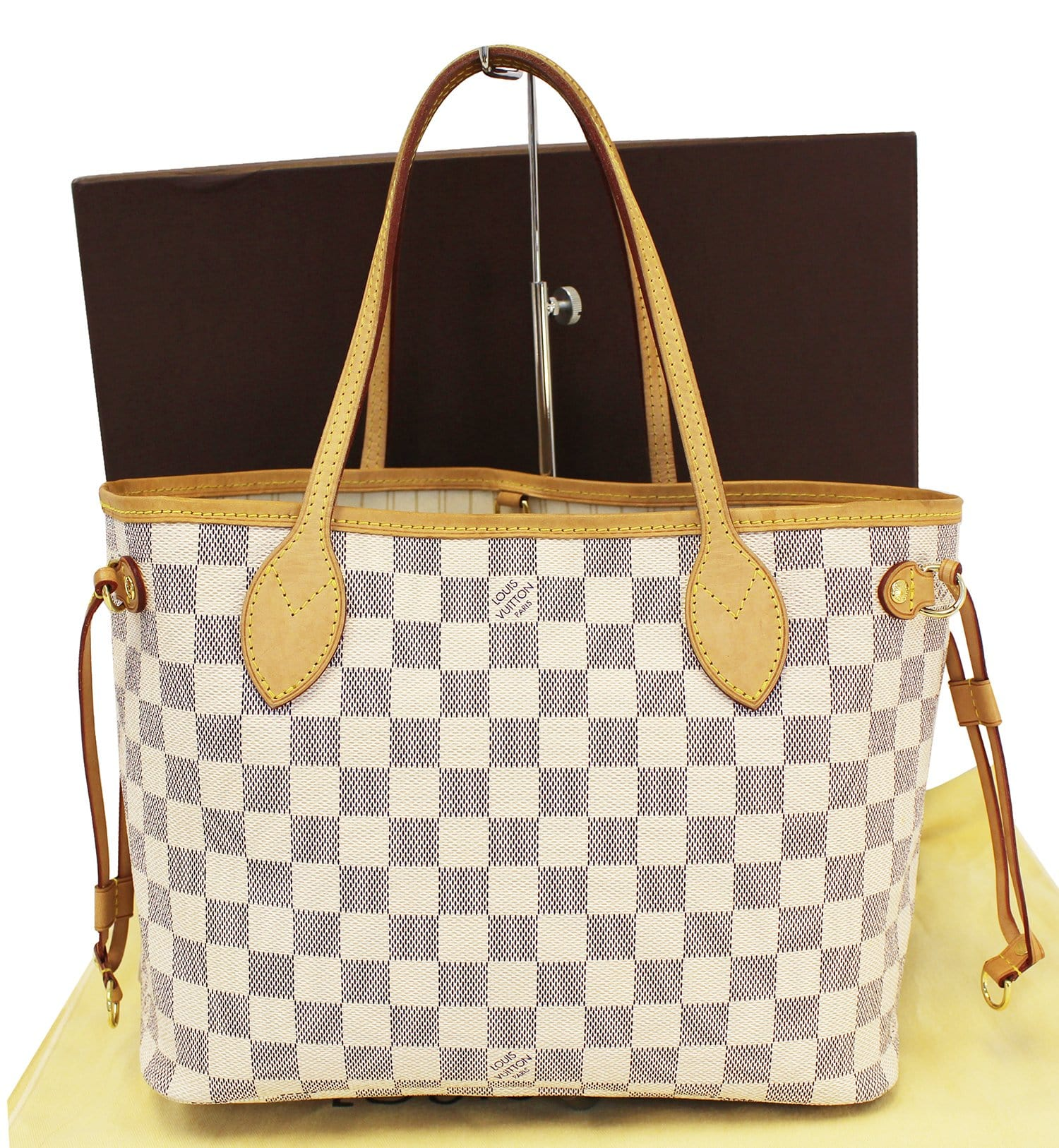 33c66dd6e9de Authentic LOUIS VUITTON Neverfull PM Damier Azur Tote Bag E3523