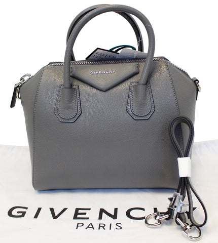 GIVENCHY Dark Grey Goatskin Leather Small Antigona Shoulder Bag