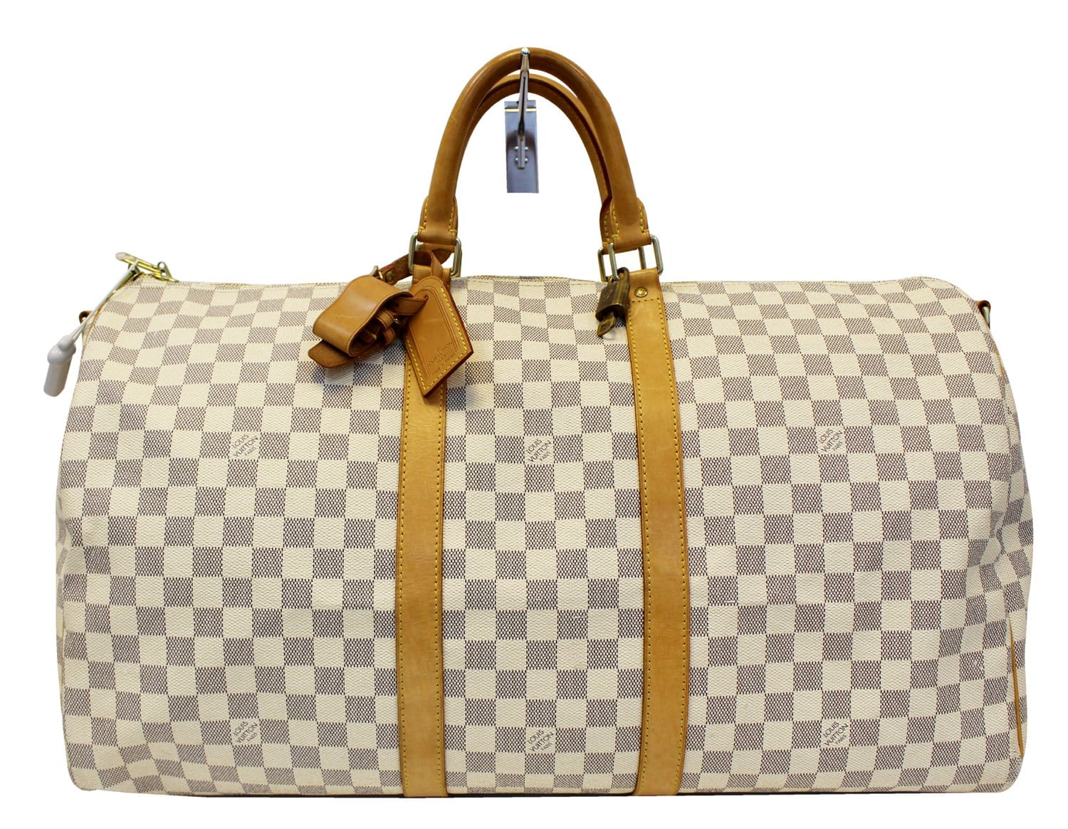 99f616fc337 LOUIS VUITTON Damier Azur Keepall Bandouliere 55 Travel Bag - 30% Off