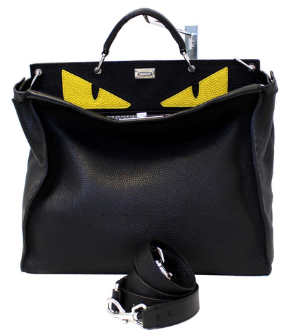Fendi Black Leather Selleria Peekaboo Monster Shoulder Handbag