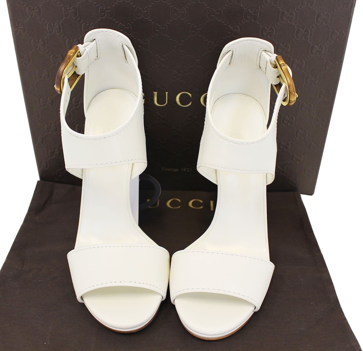 4b4d6b5ad22 GUCCI Lifford Leather Off White Platform Sandal Bamboo Buckle 338712 -