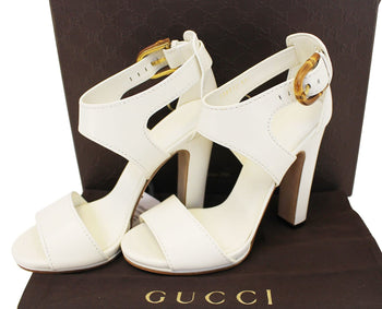 b8746df48d0 GUCCI Lifford Leather Off White Platform Sandal Bamboo Buckle 338712 - 30%  Off