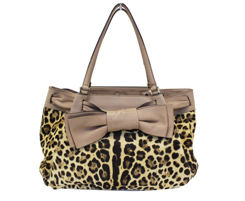 Valentino Leopard Print with Leather Bow Satchel Bag