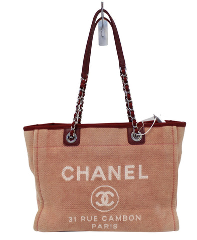 CHANEL Light Pink Canvas Deauville Medium Tote Bag - 30% Off