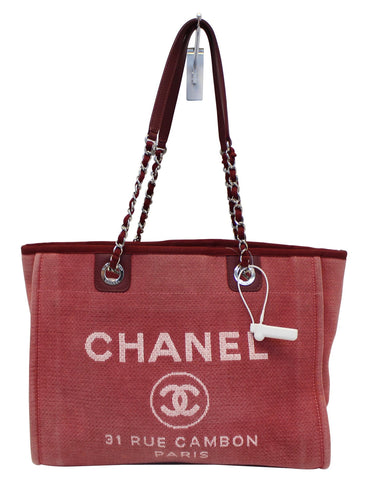 CHANEL Hot Pink Canvas Deauville Medium Tote Bag