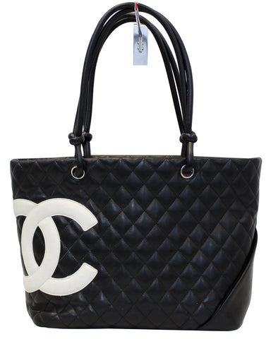 CHANEL Black CalfSkin Leather Large Cambon Tote Bag